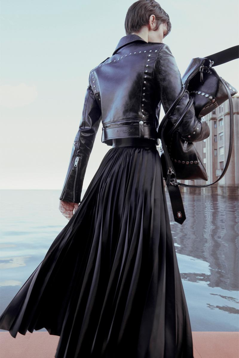 Givenchy Pre-Fall 2020 Collection Lookbook Leather Jacket Pleated Gown Black
