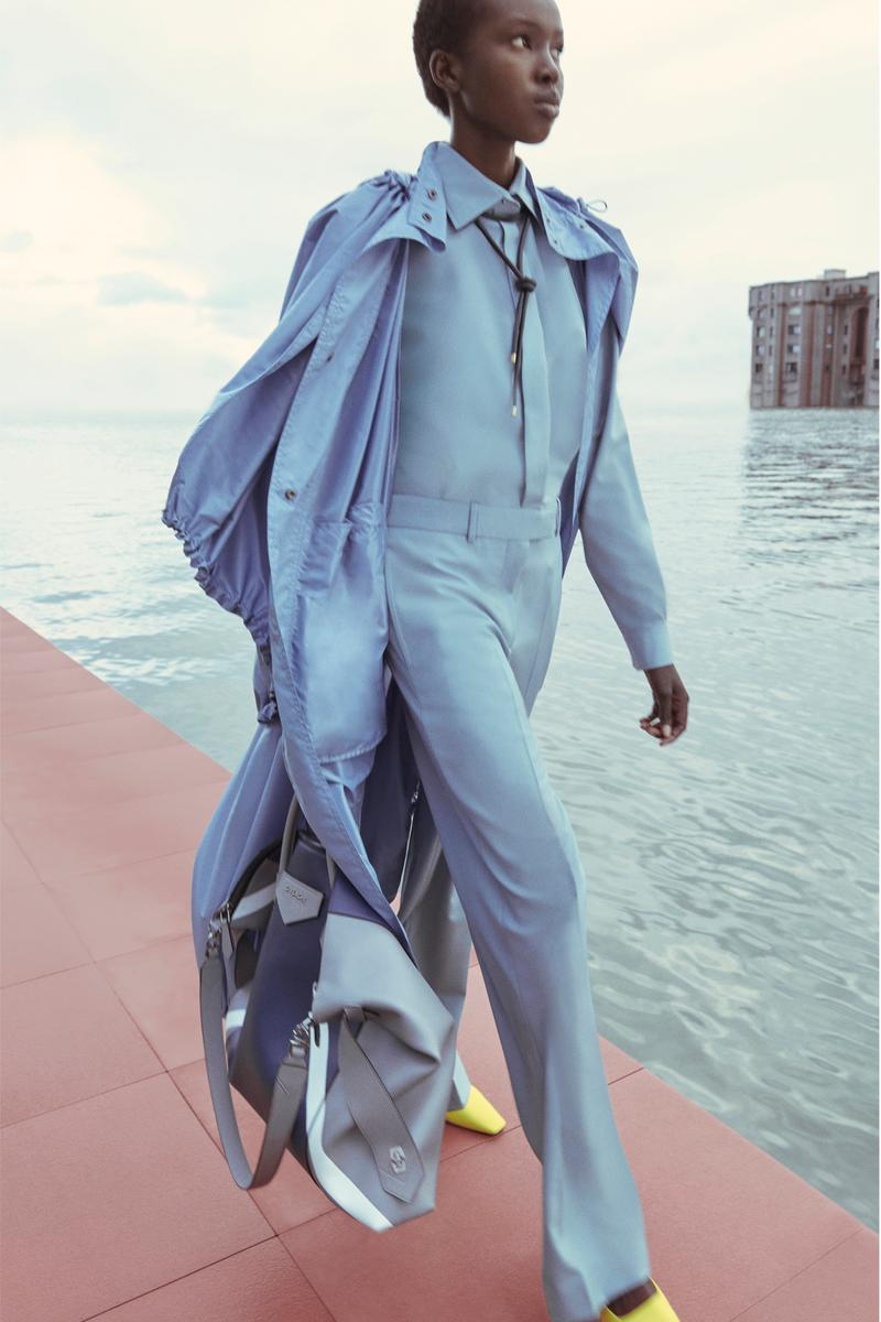 Givenchy Pre-Fall 2020 Collection Lookbook Trench Coat Trousers Blue Antigona White
