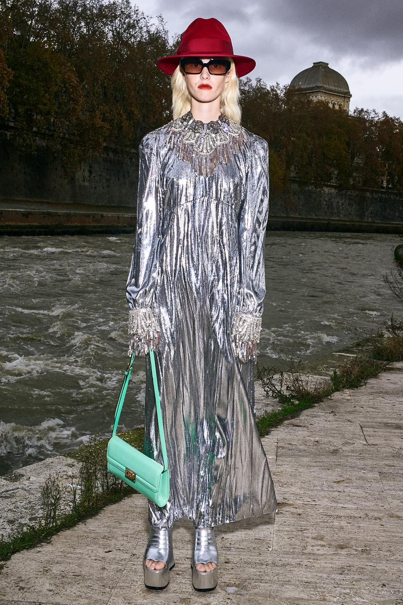 Gucci Pre-Fall 2020 Collection Lookbook Sequin Dress Silver