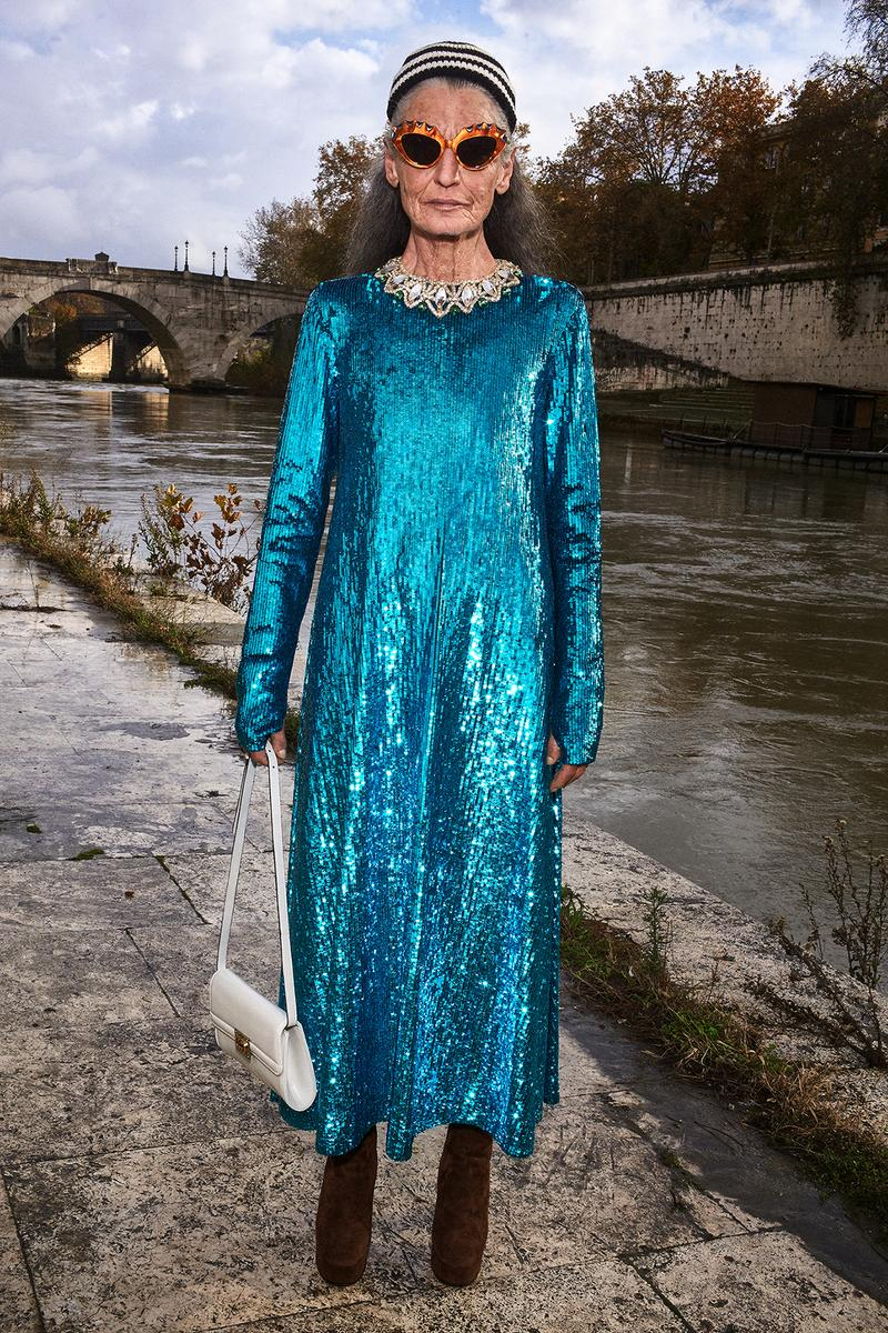 Gucci Pre-Fall 2020 Collection Lookbook Sequin Dress Blue Long Sleeve