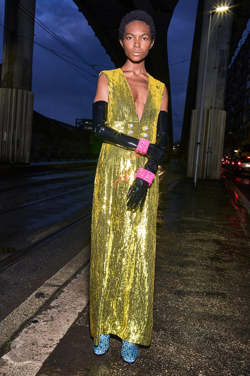 Gucci Pre-Fall 2020 Collection Lookbook Sequin Dress Gold V-Neck
