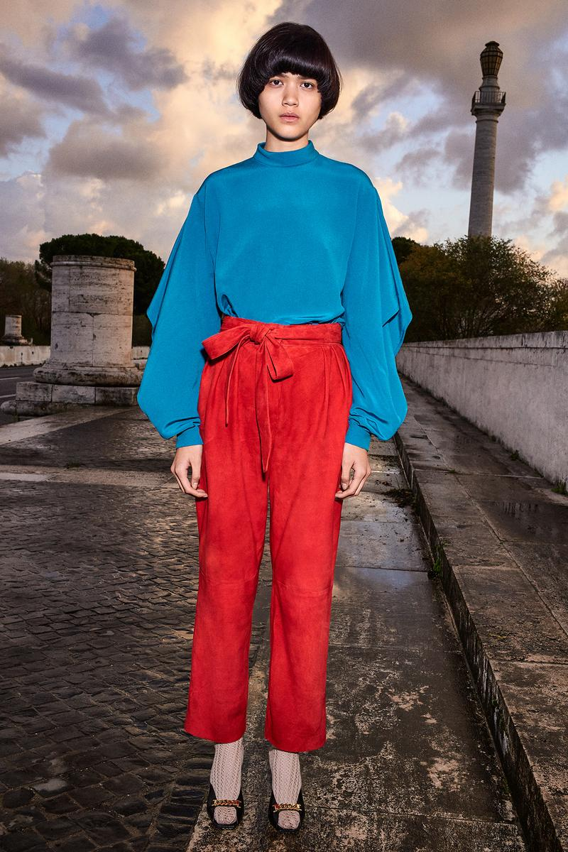 Gucci Pre-Fall 2020 Collection Lookbook Blouse Blue Suede Pants Red