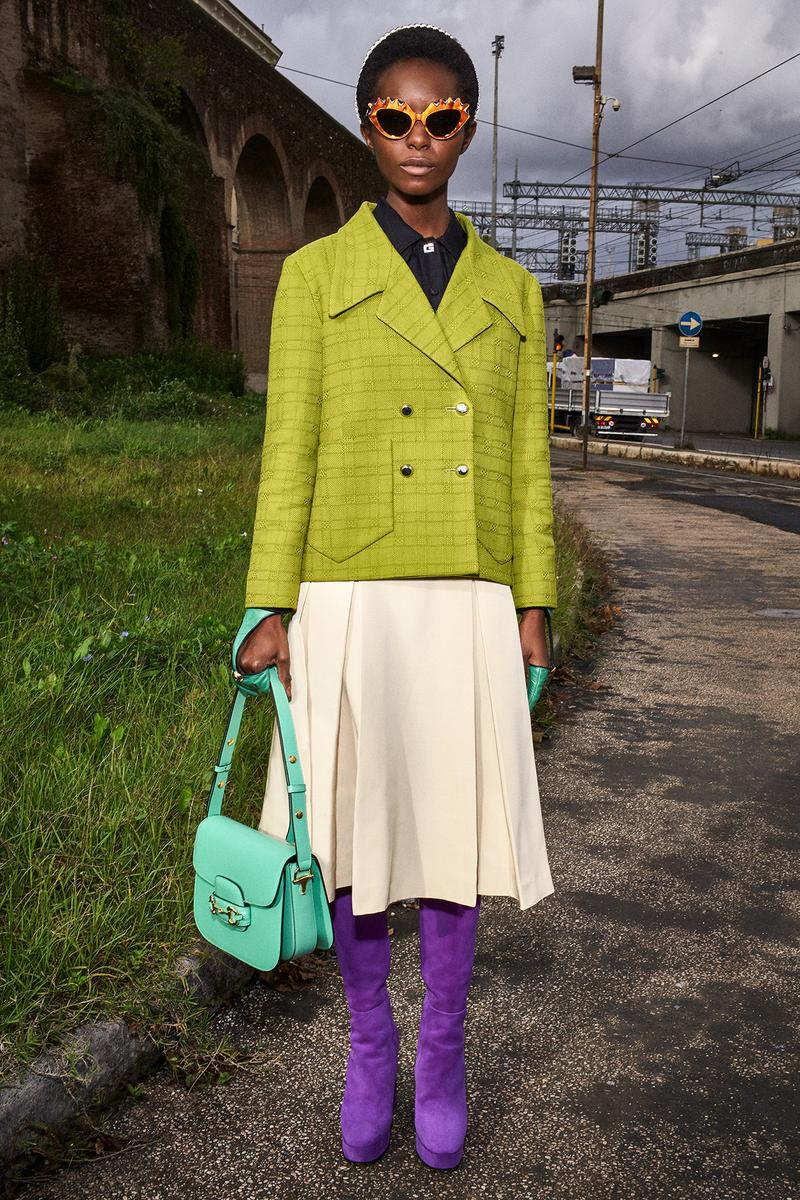 Gucci Pre-Fall 2020 Collection Lookbook Tweed Jacket Green