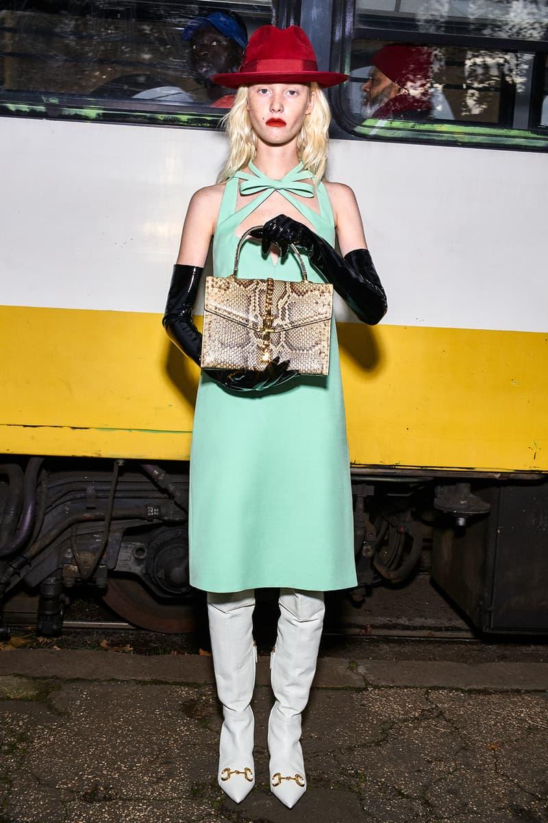 Gucci Pre-Fall 2020 Collection Lookbook Mint Dress Thigh High Boots Horsebit