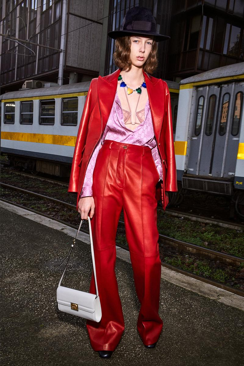 Gucci Pre-Fall 2020 Collection Lookbook Leather Suit Red GG Logo Bra Blouse Pink