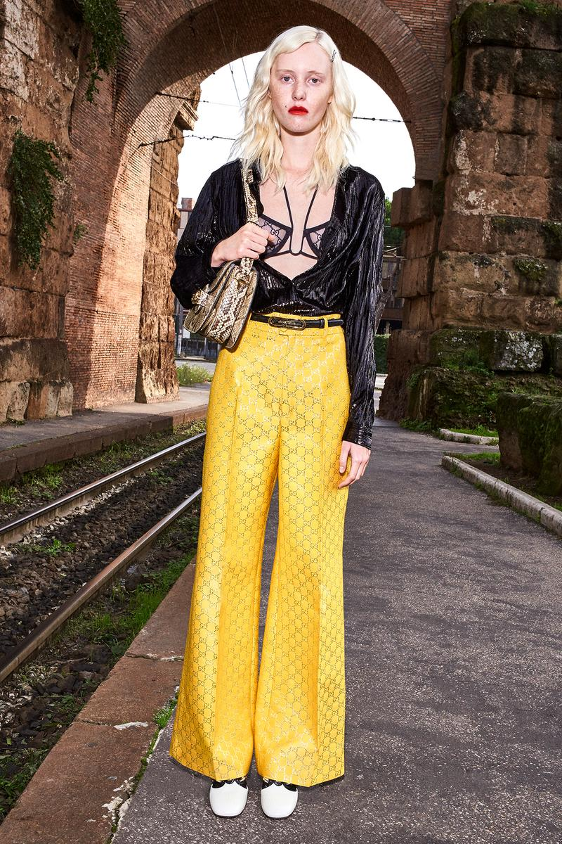 Gucci Pre-Fall 2020 Collection Lookbook GG Logo Pants Bra Yellow Black