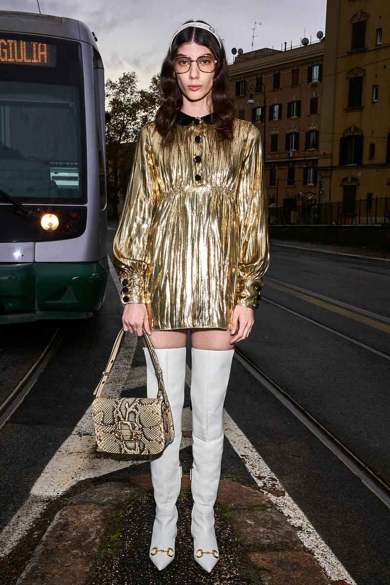 Gucci Pre-Fall 2020 Collection Lookbook Babydoll Minidress Gold