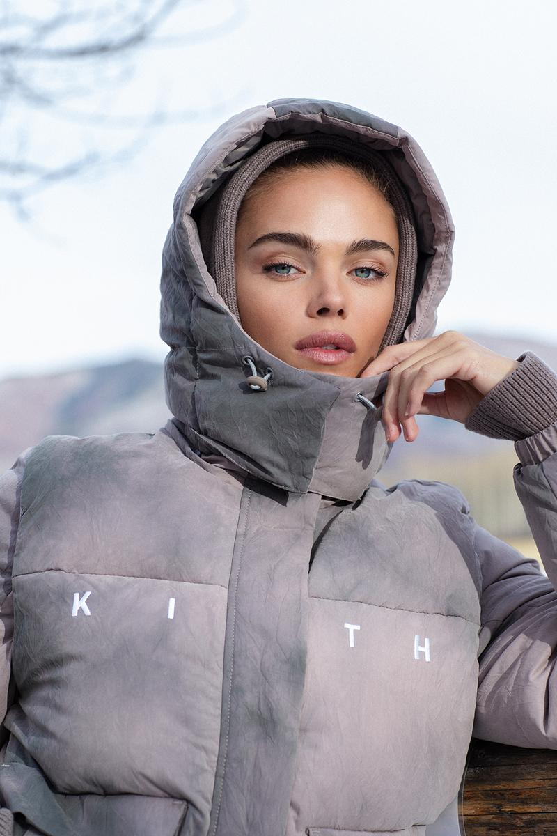 kith women cordova collaboration winter campaign ski outerwear puffer jackets fleece yellow pastel blue