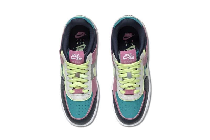 Nike Air Force 1 Shadow Pink/Yellow/Teal Sneaker Layered Swoosh Trainer Footwear