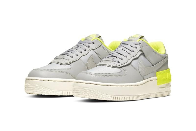 nike air force 1 shadow womens sneakers grey neon yellow shoes footwear sneakerhead