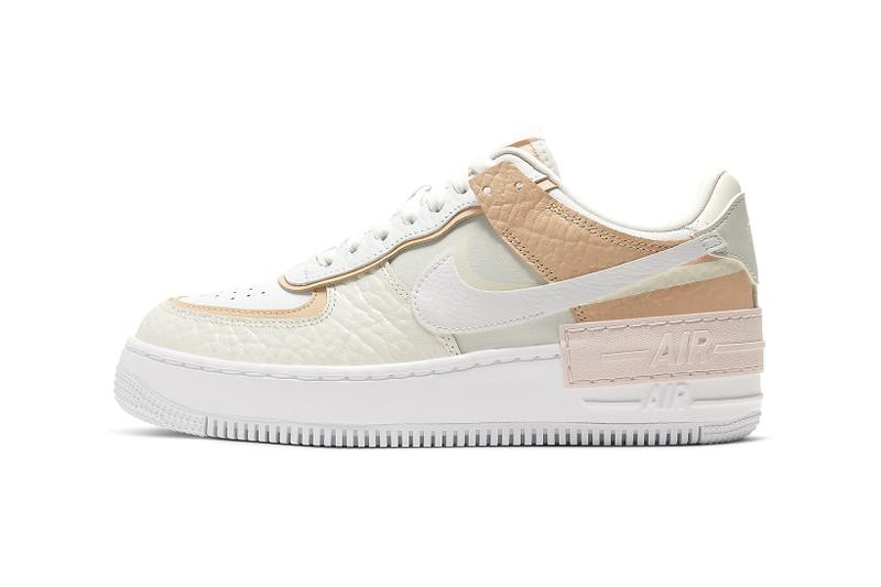 nike air force 1 shadow womens sneakers peach pastel pink off white brown shoes footwear sneakerhead