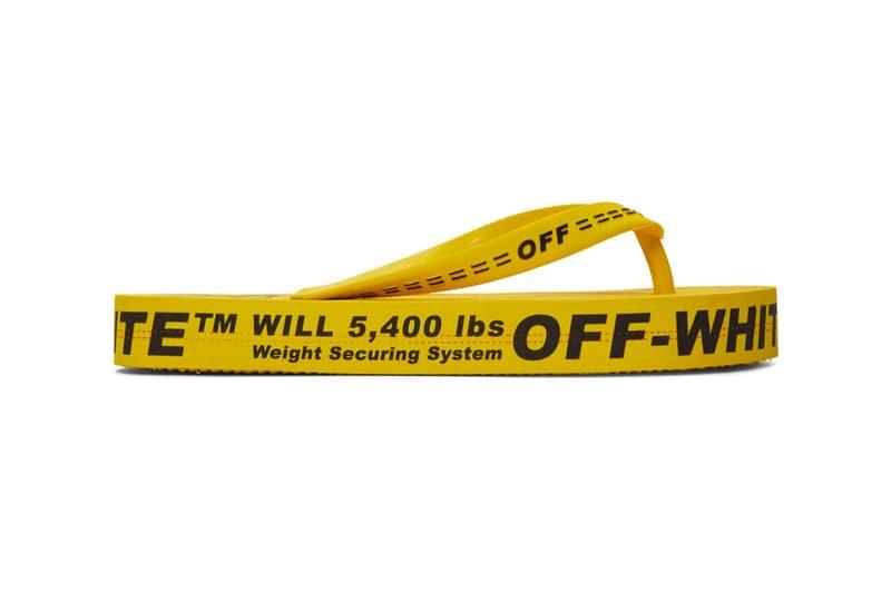 Off-White Yellow Industrial Strap Flip Flop Sandals Logo Thong Footwear Virgil Abloh