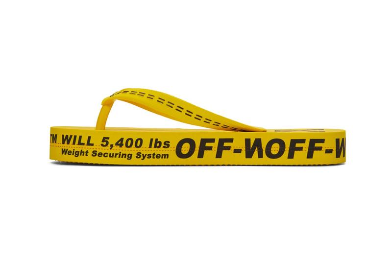 Off-White Yellow Industrial Strap Flip Flop Sandals Logo Thong Footwear Virgil Abloh