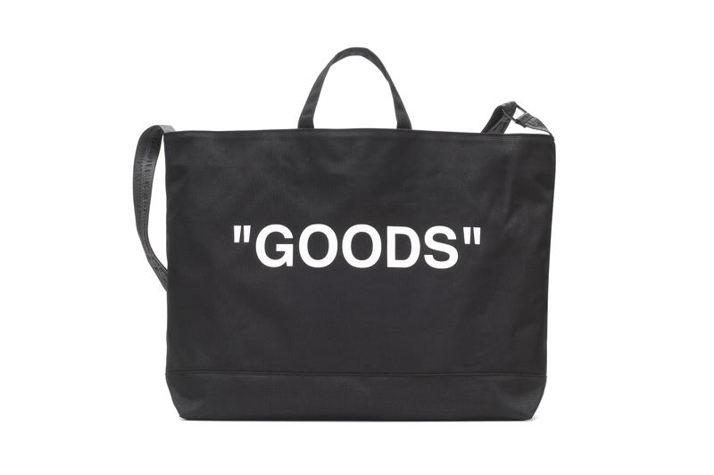 "Off-White Logo Tote Bag Virgil Abloh ""GOODS"" Black Purse Industrial Strap"