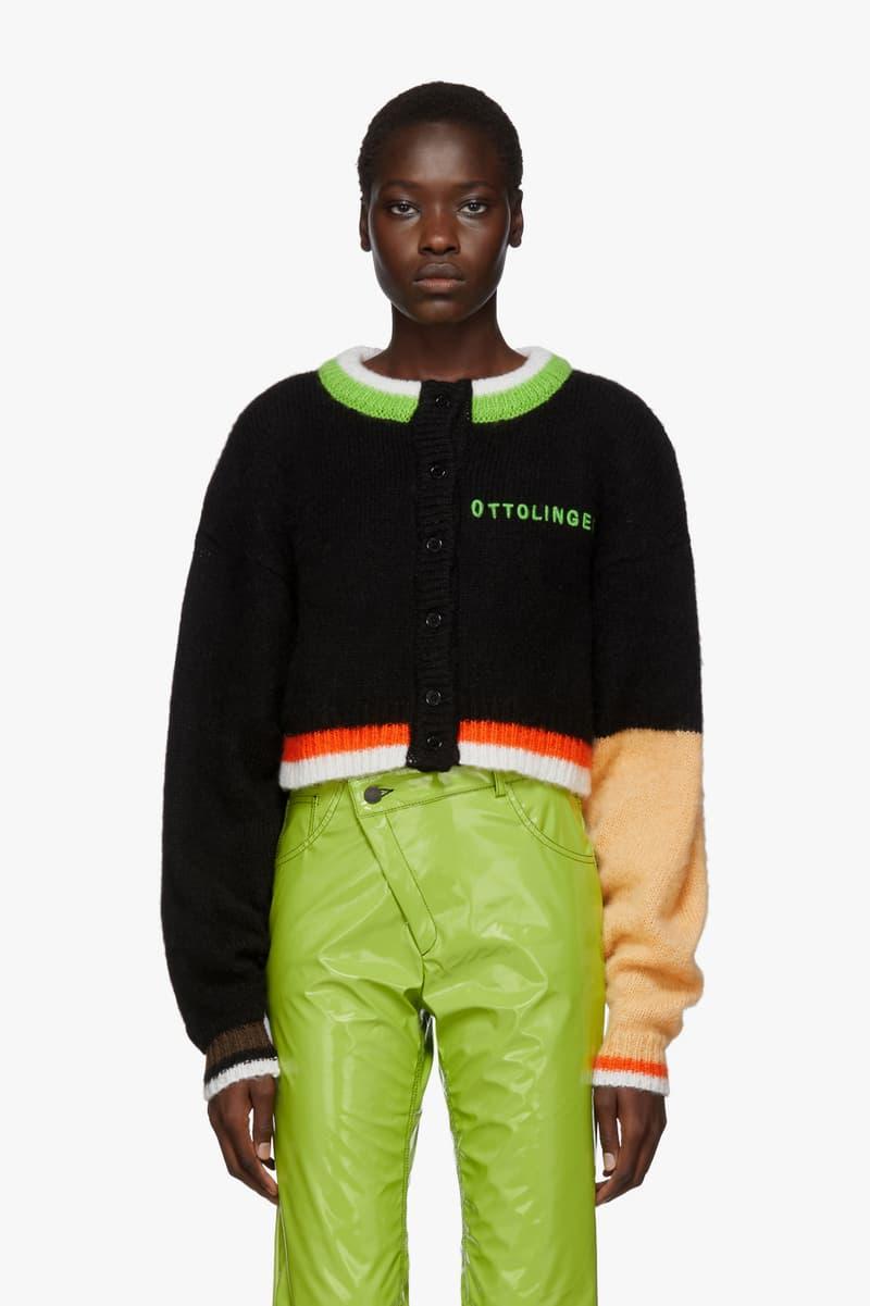 Ottolinger Mohair Cardigan Cropped Black Green Orange