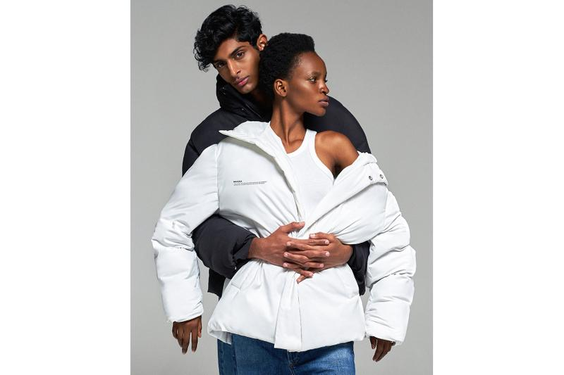 pangaia flwrdwn puffer jackets winter white black navy blue hood sustainable cruelty free recycle fashion
