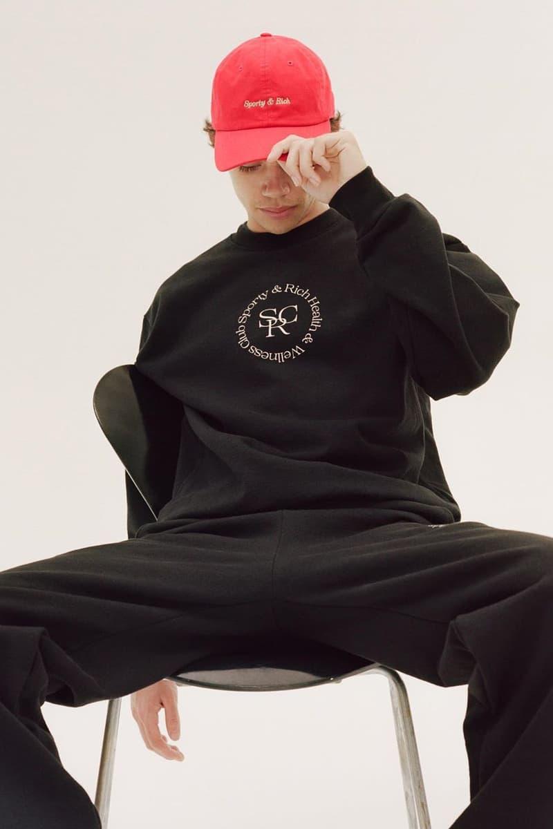 Emily Oberg Sporty & Rich Drop 3 Red Dad Cap Logo Health and Wellness Club Sweater Sweatshirt Crewneck Black Sweatpants Men Male Model