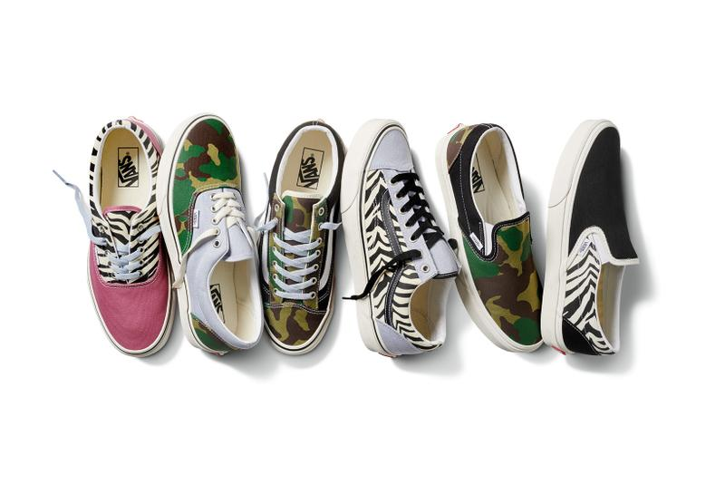 vans era slip on style 36 mismatch sneakers camo zebra print black pastel purple green pink