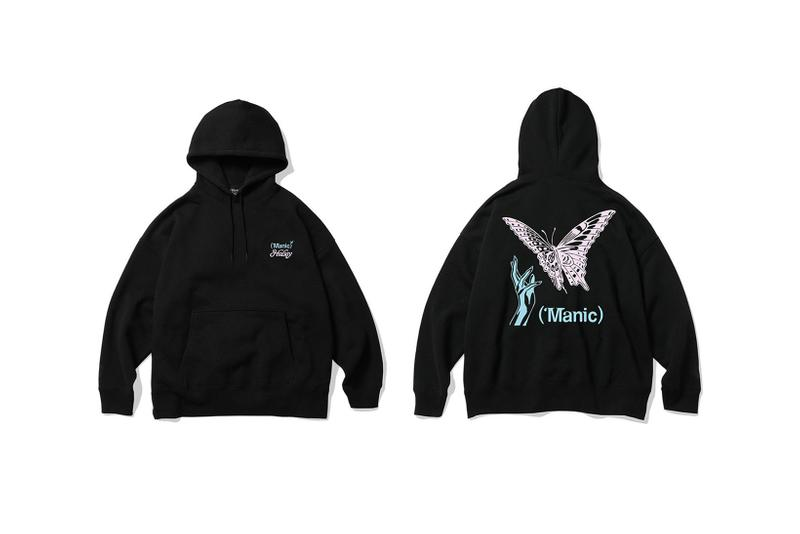 verdy halsey collaboration manic album merch hoodies t shirts black white butterfly