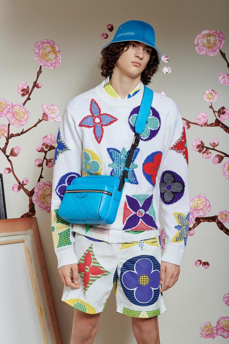 Virgil Abloh Louis Vuitton Pre-Fall 2020 Collection Lookbook Multicolor Logo Sweater Shorts