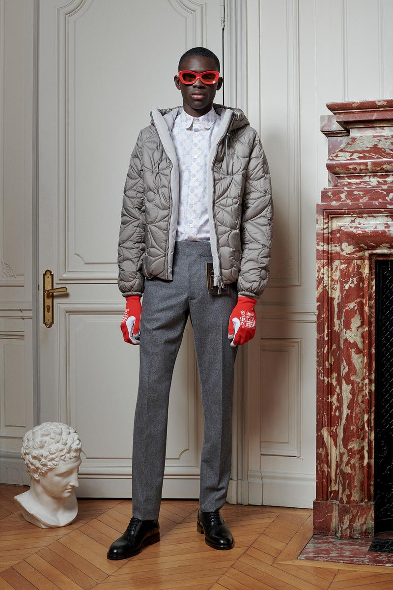 Virgil Abloh Louis Vuitton Pre-Fall 2020 Collection Lookbook Puffer Jacket Grey