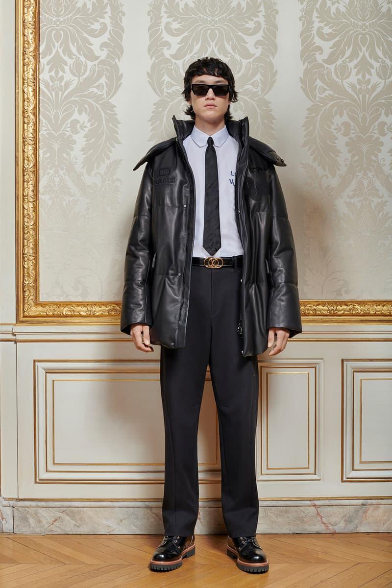 Virgil Abloh Louis Vuitton Pre-Fall 2020 Collection Lookbook Leather Coat Black