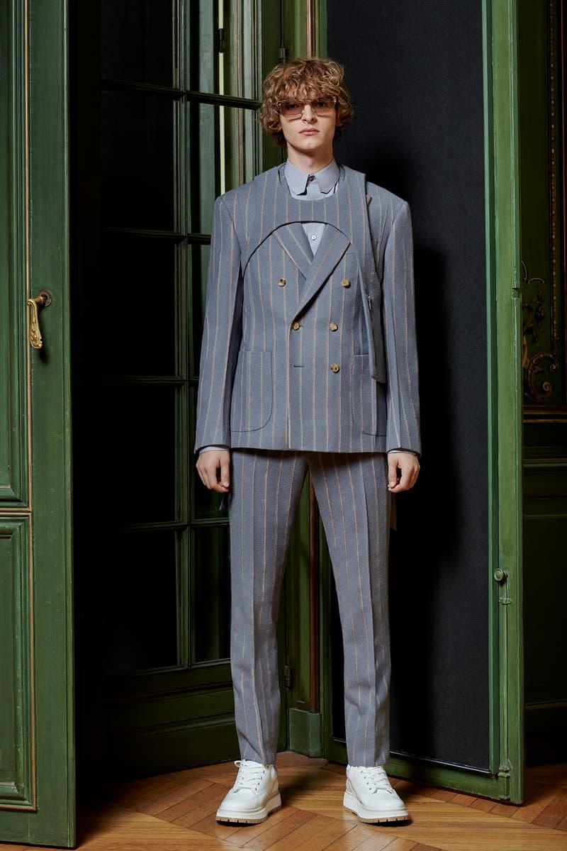 Virgil Abloh Louis Vuitton Pre-Fall 2020 Collection Lookbook Suit Grey Harness