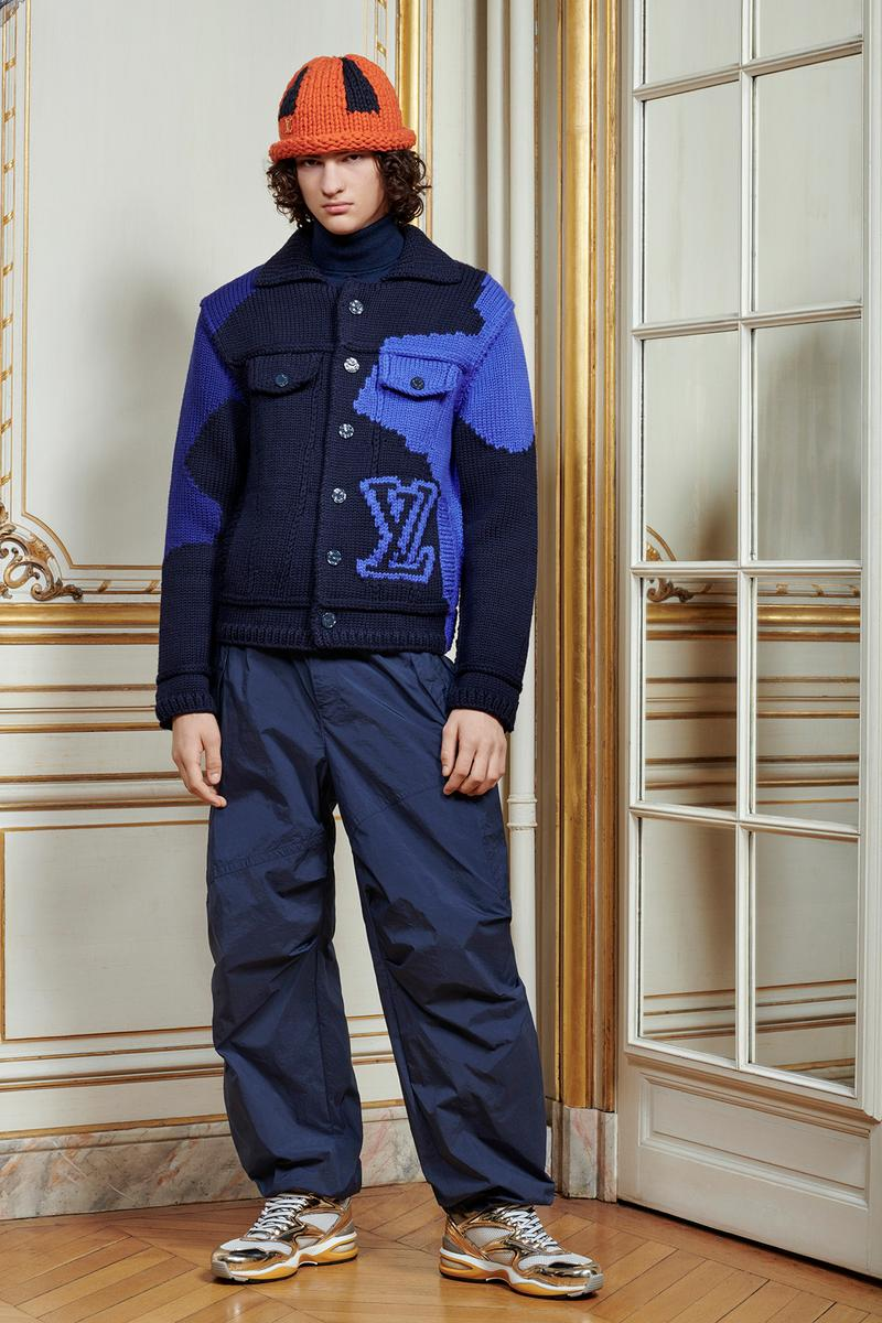 Virgil Abloh Louis Vuitton Pre-Fall 2020 Collection Lookbook Logo Knit Jacket Sweatpants