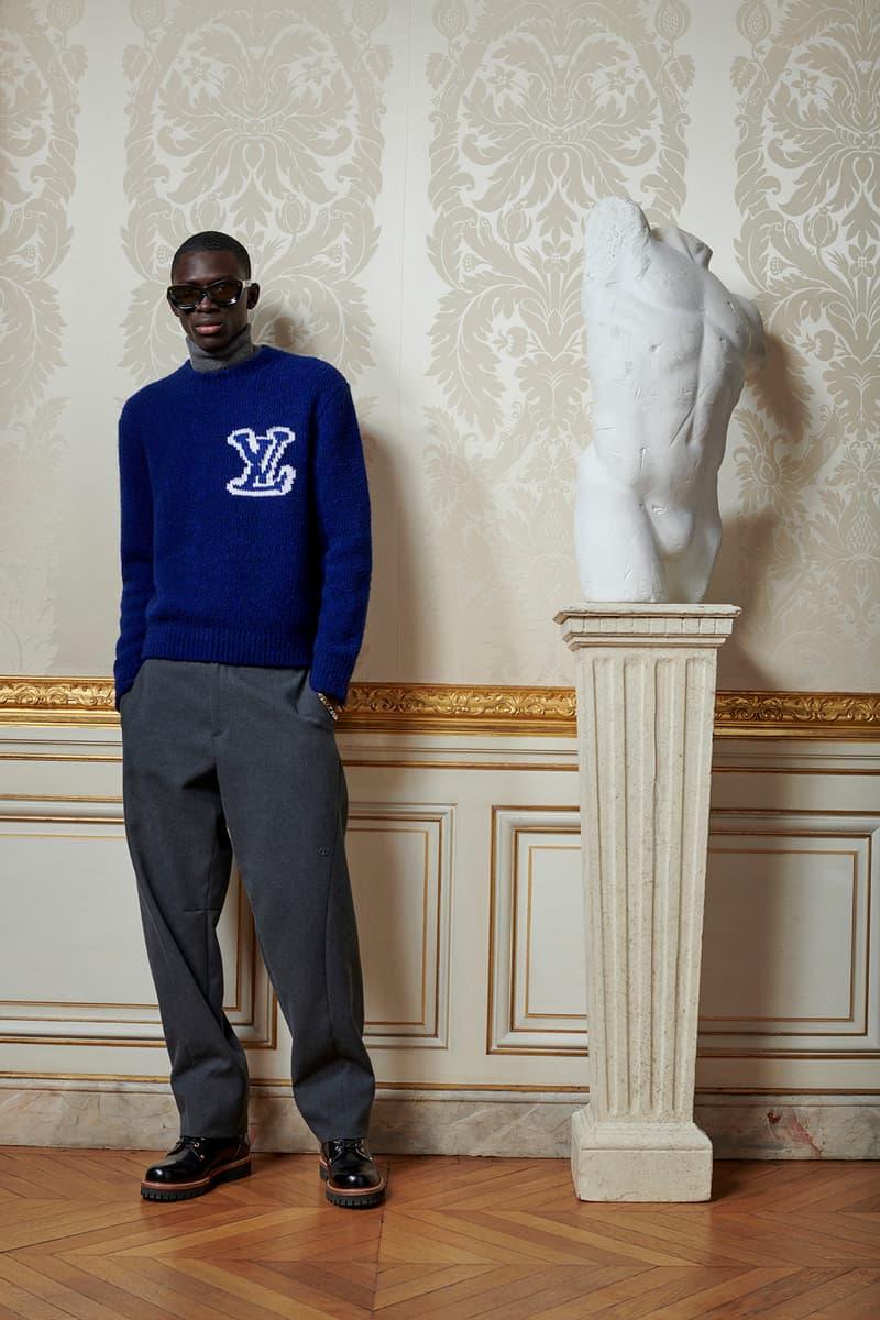 Virgil Abloh Louis Vuitton Pre-Fall 2020 Collection Lookbook Logo Sweater Pants Grey