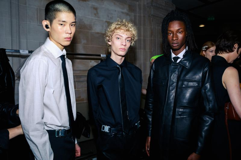 1017 ALYX 9SM fall winter 2020 runway collection paris fashion week men's look image full matthew m williams backstage bella hadid leather gender neutral