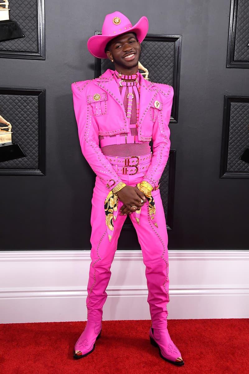 Lil Nas X Neon Pink Cowboy Hat 62nd Grammy Awards 2020 Red Carpet