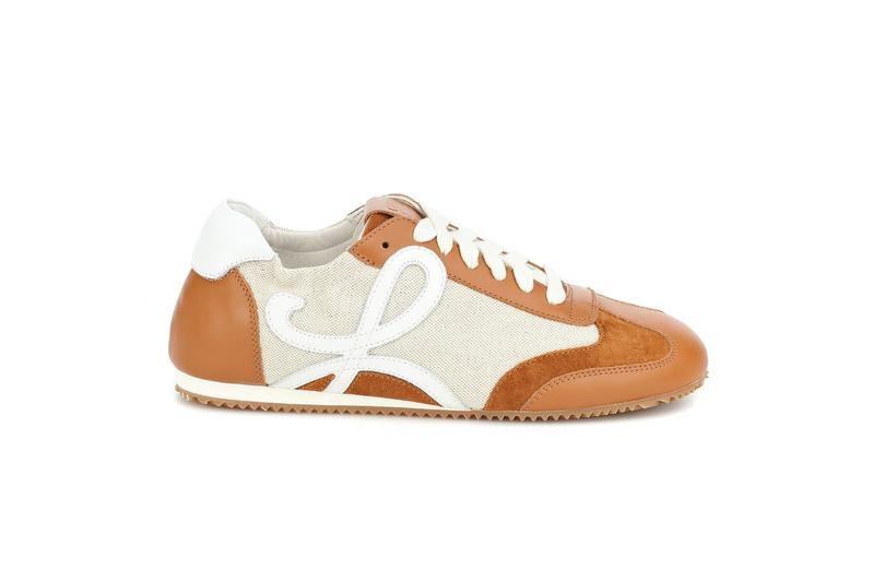 loewe logo nylon leather sneaker footwear fashion sand caramel brown white leather