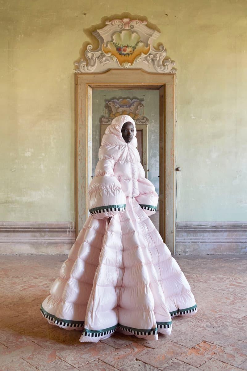 moncler genius series 1 pierpaolo piccioli dresses outerwear nylon puffer liya kebede tour milan fashion week ethiopia african valentino