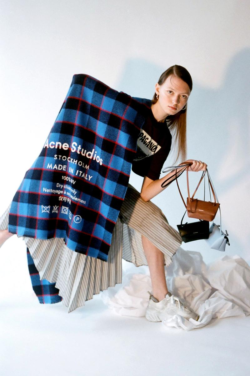 Acne Studios Spring/Summer 2020 Collection Logo Scarf Blue Red Plaid Mini Bag Brown Black Blue