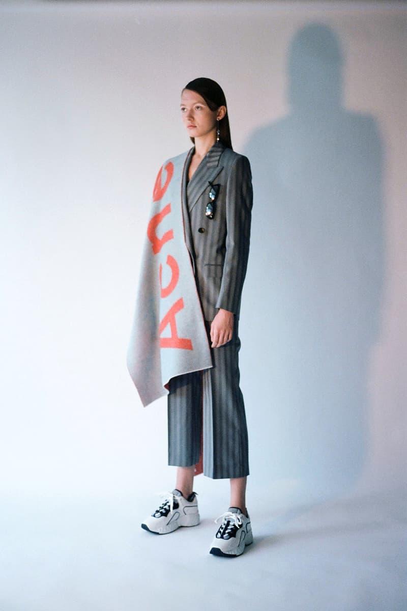 Acne Studios Spring/Summer 2020 Collection Blazer Pants Suit Grey Stripe Logo Scarf Blue Orange