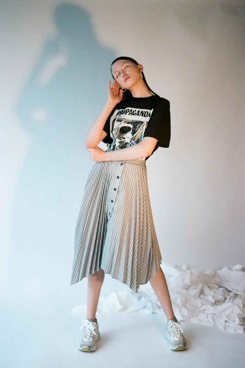 Acne Studios Spring/Summer 2020 Collection Pleated Skirt Propaganda T-Shirt