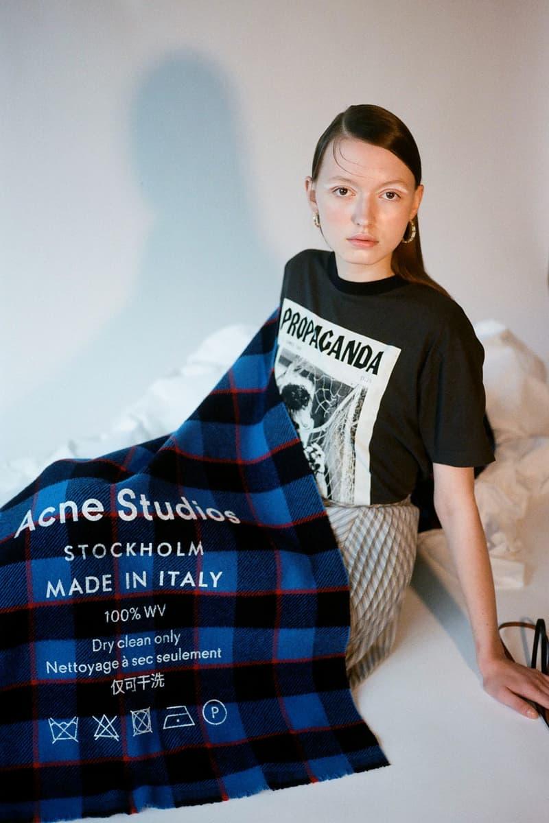 Acne Studios Spring/Summer 2020 Collection Propaganda T-Shirt Black Blue Plaid Scarf