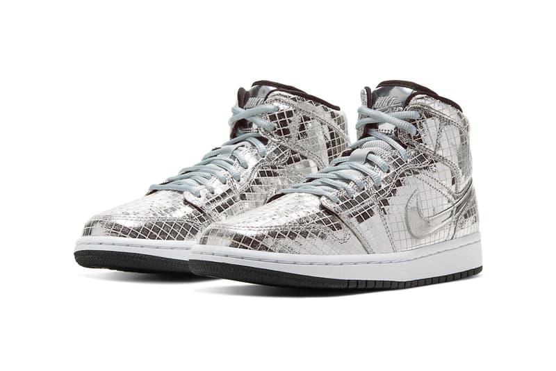 air jordan 1 mid disco ball release information date metallic silver sneaker footwear brand swoosh nike snkrs