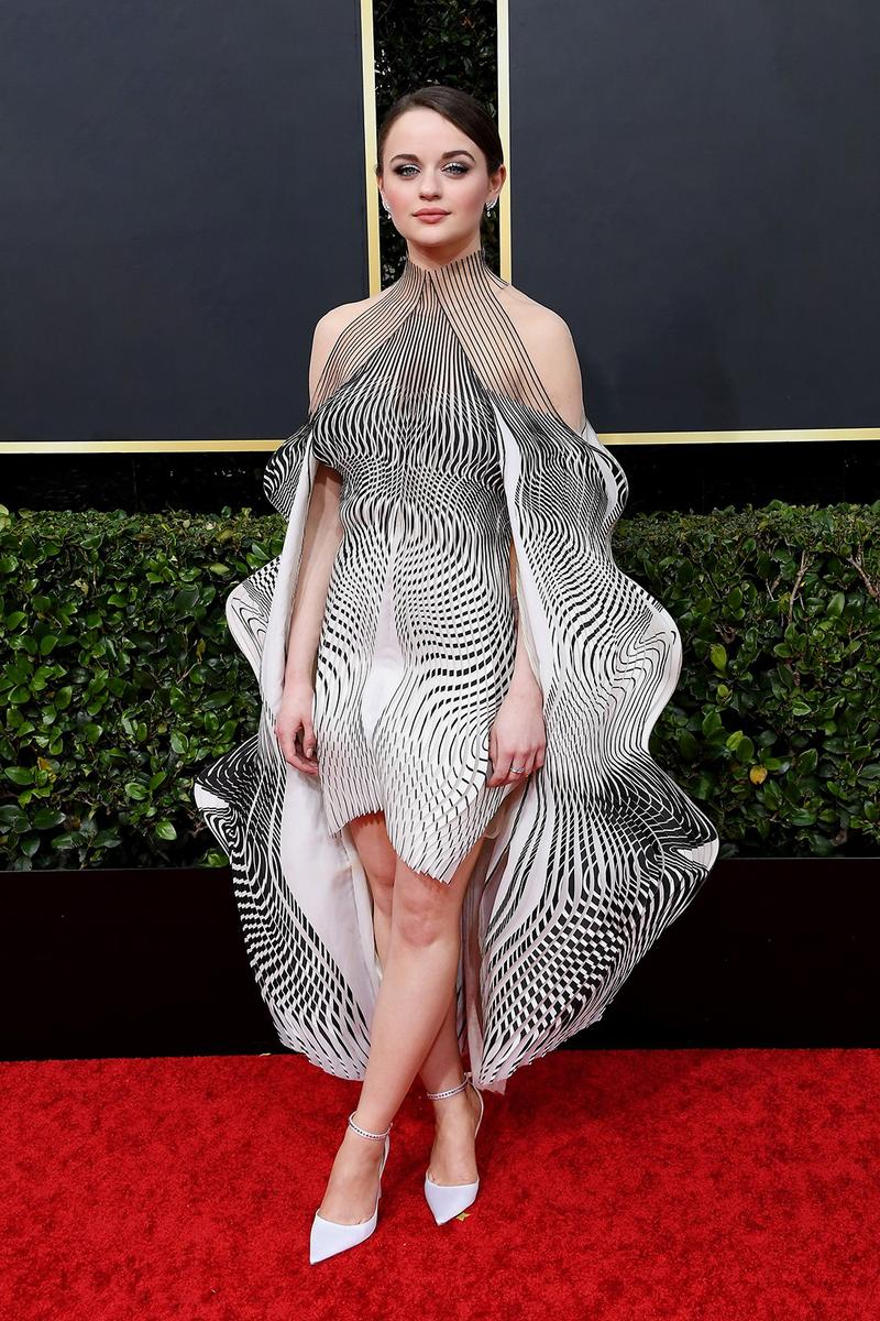 best celebrity style fashion joey king iris van harpen 2020 golden globe awards dress