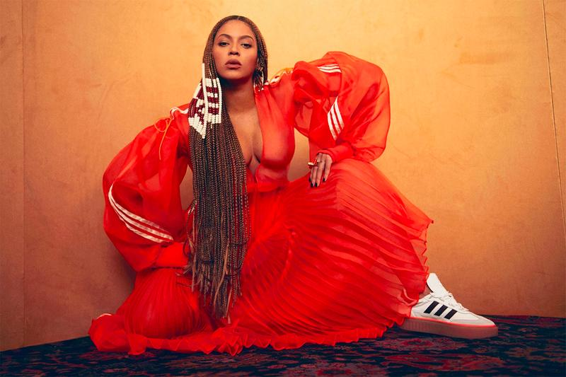 Beyoncé IVY PARK x adidas Originals Collaboration Three Stripes Pleated Skirt Orange Red Tracksuit Jacket Sneaker Hair Braids Beads Campaign