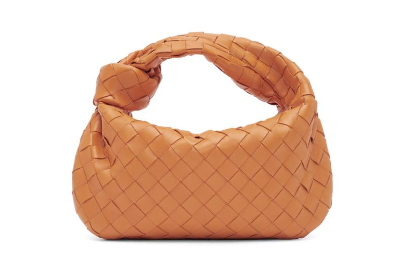 Bottega Veneta Jodie Leather Intrecciato Bag Orange Brown Black