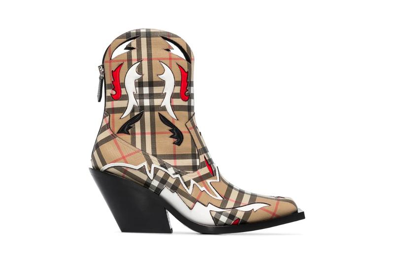 burberry multicolored western 60 check print boots footwear vintage antique pre-fall 2020 riccardo tisci shoes browns fashion