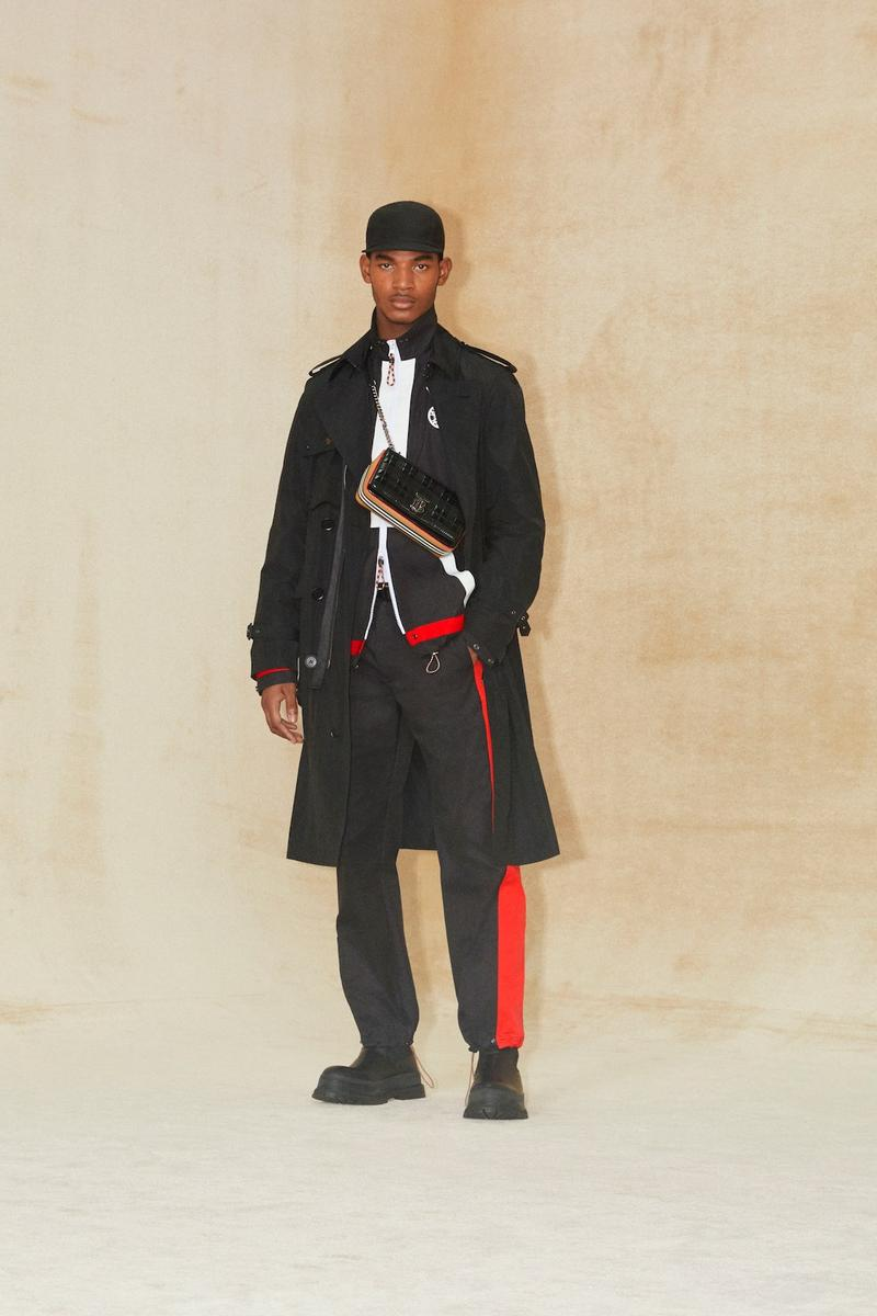 burberry pre fall 2020 collection riccardo tisci tb monogram outerwear skirts bags irina-shayk boots hats accessories