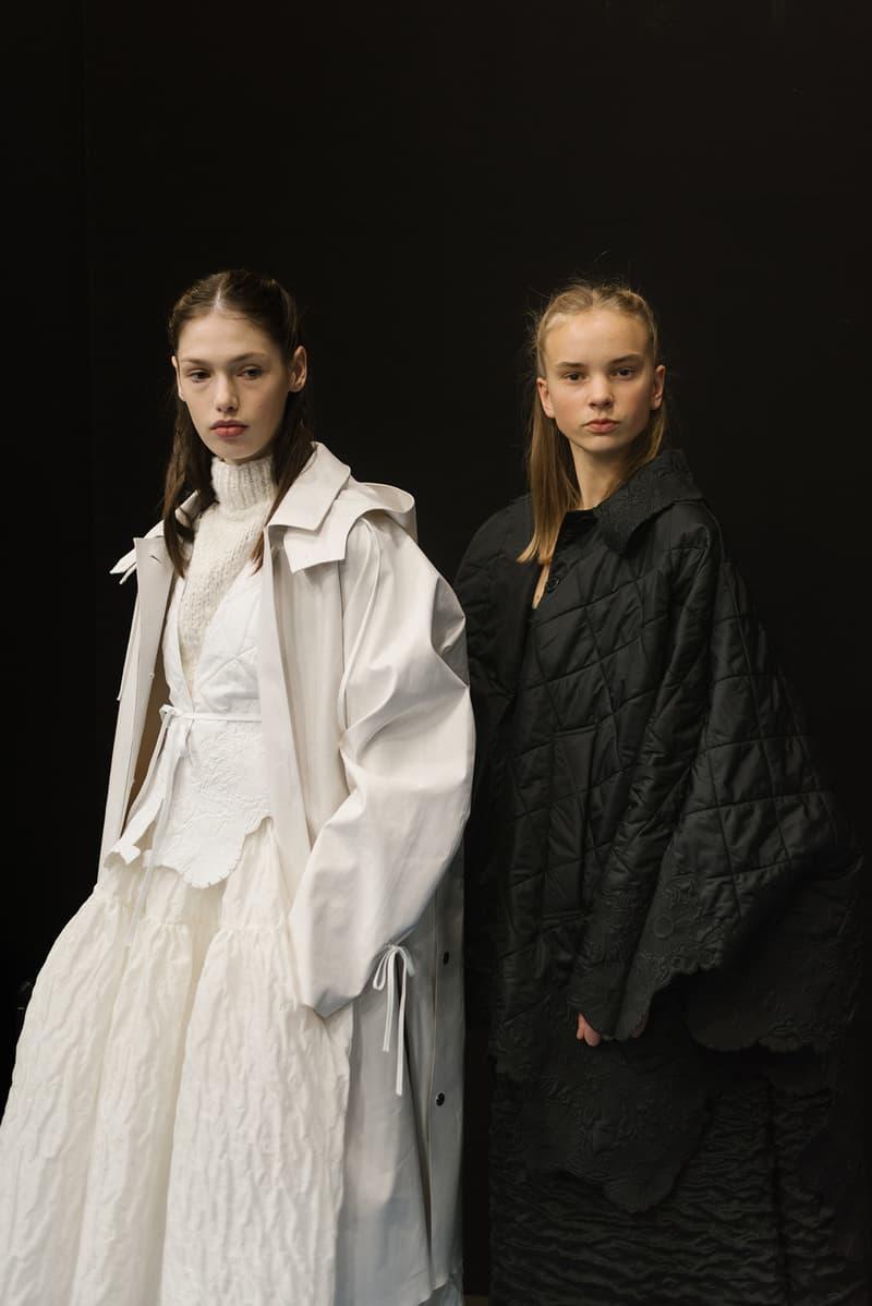 Cecilie Bahnsen FW20 Fall Winter 2020 Collection Runway Show Fitting Backstage Danish Designer Copenhagen Fashion Week Black Dress Model Mackintosh raincoat white collaboration