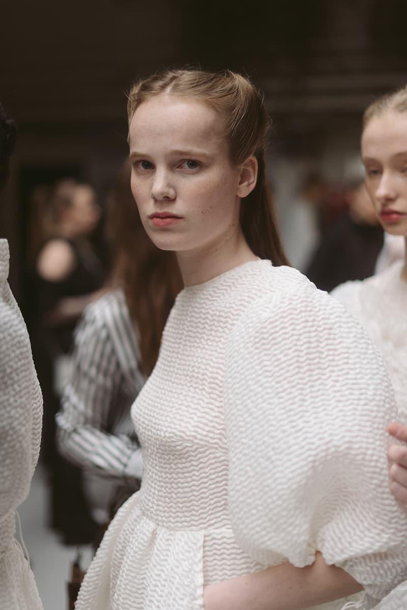 Cecilie Bahnsen FW20 Fall Winter 2020 Collection Runway Show Fitting Backstage Danish Designer Copenhagen Fashion Week White Dresses Models Caroline Brasch Nielsen