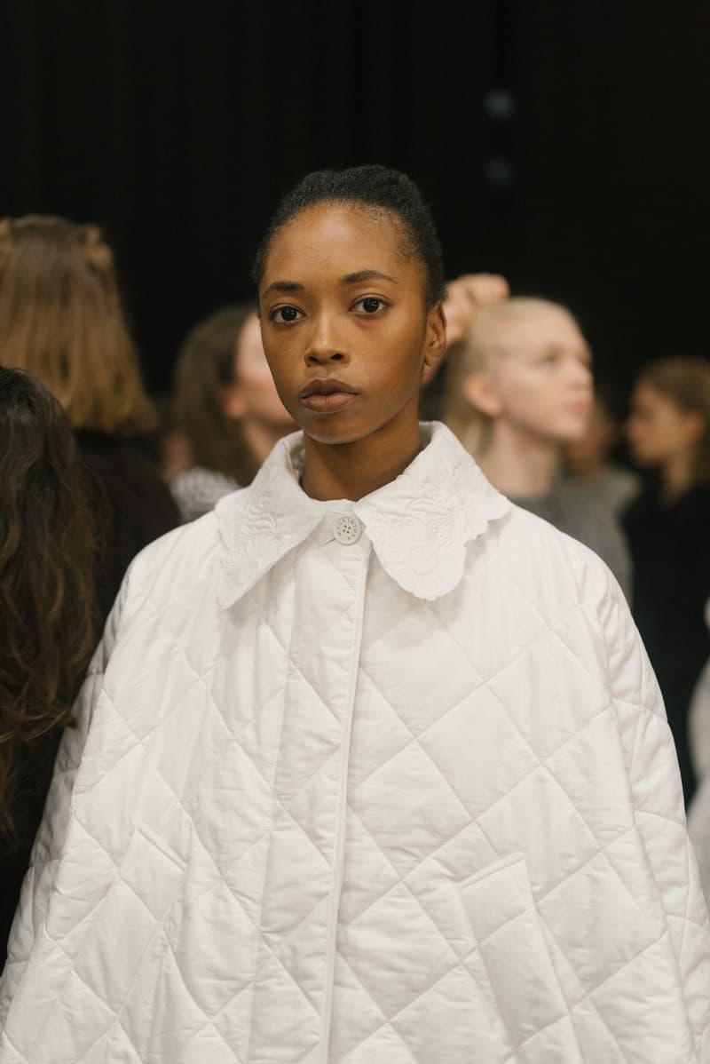 Cecilie Bahnsen FW20 Fall Winter 2020 Collection Runway Show Fitting Backstage Danish Designer Copenhagen Fashion Week White Cape