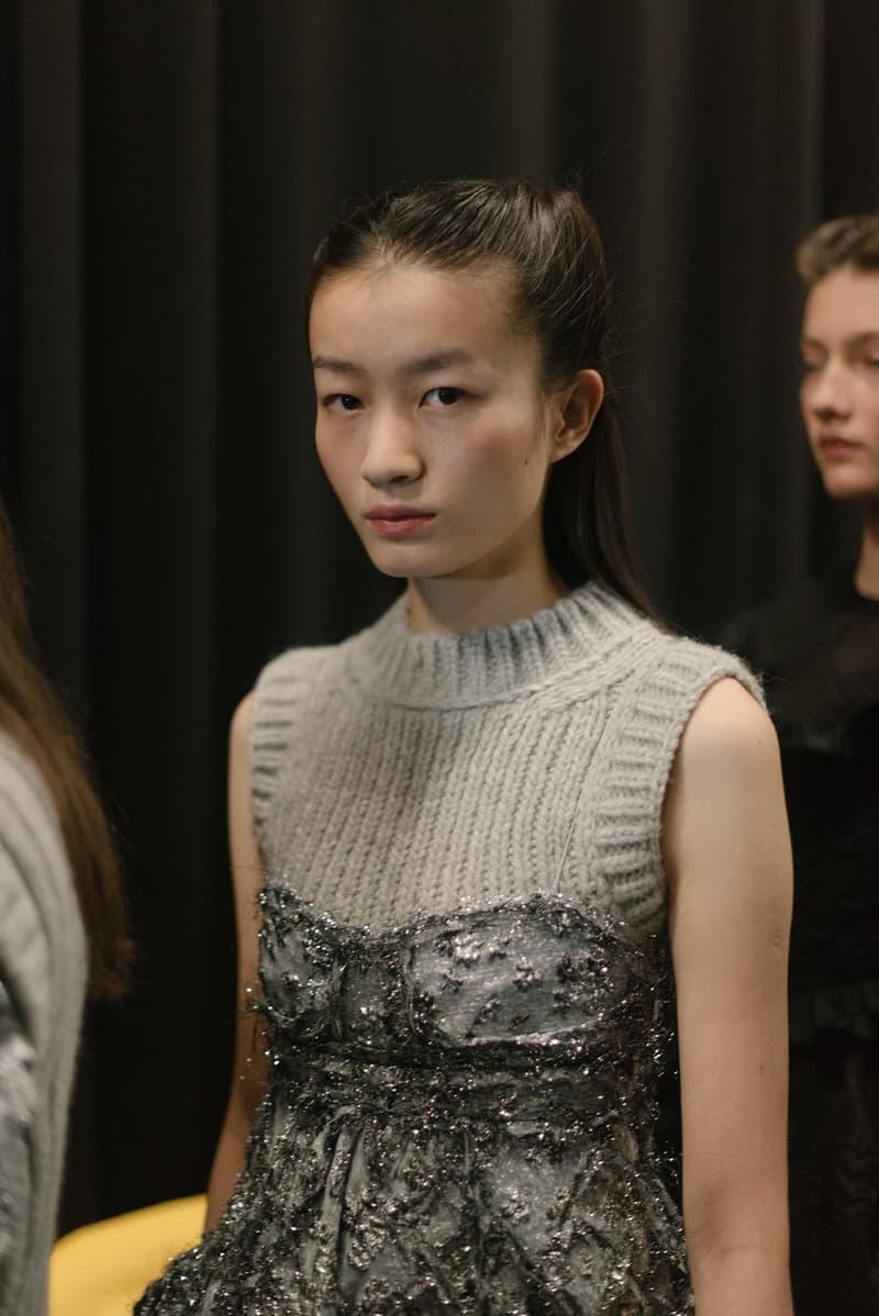 Cecilie Bahnsen FW20 Fall Winter 2020 Collection Runway Show Fitting Backstage Danish Designer Copenhagen Fashion Week Knit Dress Model