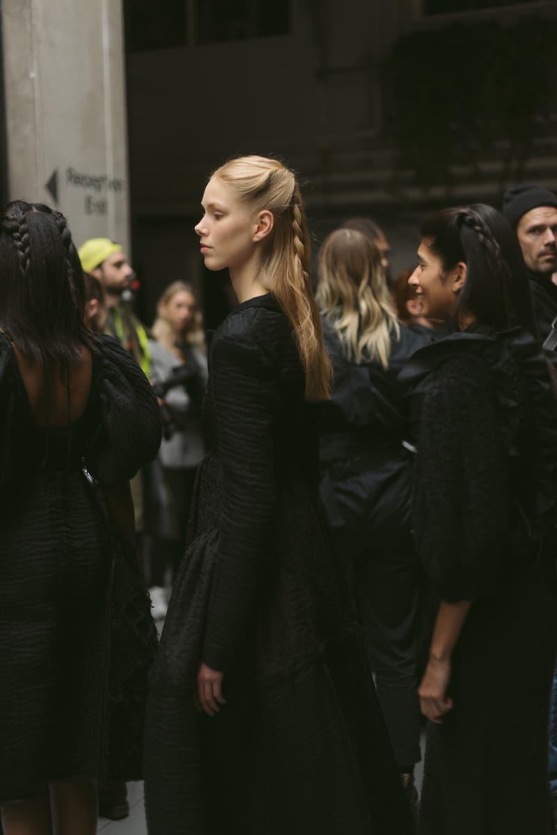 Cecilie Bahnsen FW20 Fall Winter 2020 Collection Runway Show Fitting Backstage Danish Designer Copenhagen Fashion Week Black Dress Model