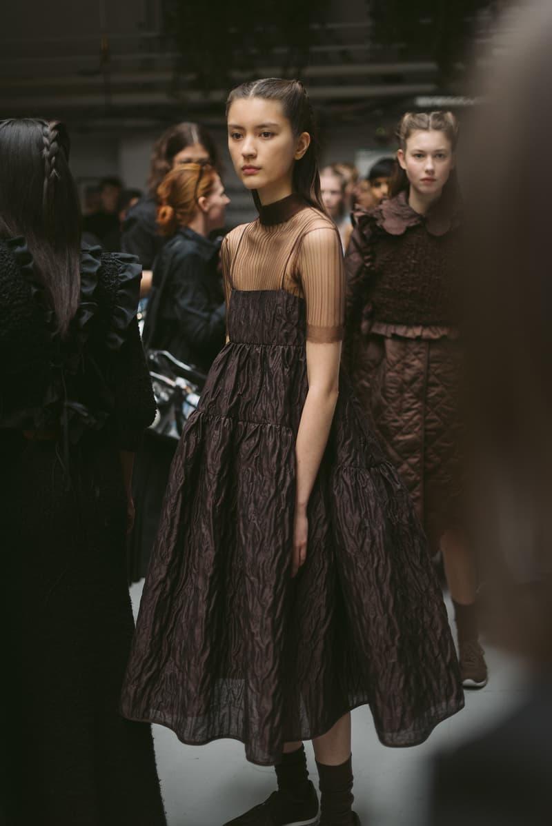 Cecilie Bahnsen FW20 Fall Winter 2020 Collection Runway Show Fitting Backstage Danish Designer Copenhagen Fashion Week Brown Dress Model