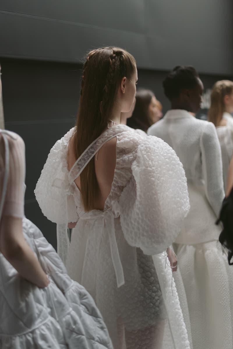 Cecilie Bahnsen FW20 Fall Winter 2020 Collection Runway Show Fitting Backstage Danish Designer Copenhagen Fashion Week White Dress Model